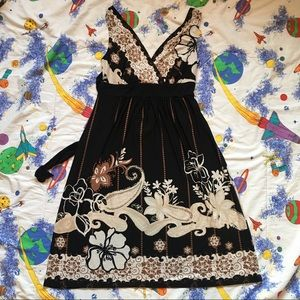 VTG 90s Floral Sleeveless Wrap Front Mini Dress